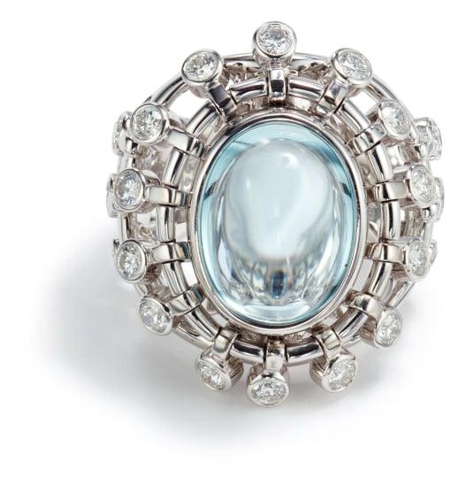 An Aquamarine and Diamond 'Sultane' Ring