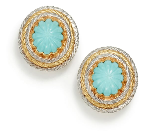 A Pair of Gold and Turquoise 'Oro Collection' Earrings
