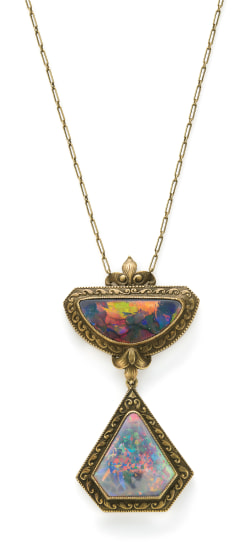 An Arts and Crafts Opal and Gold Necklace