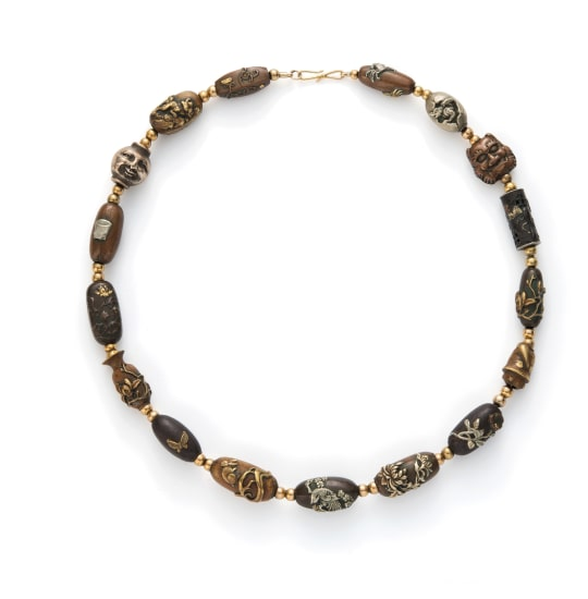 A Mixed Metal Ojime Bead Necklace