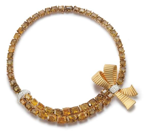 A Sphene, Diamond and Gold Necklace