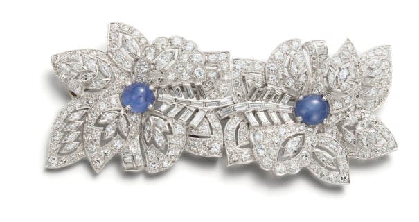 A Star Sapphire and Diamond Double Clip Brooch