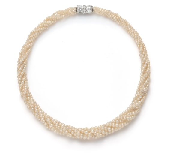 A Natural and Cultured Pearl and Diamond Necklace