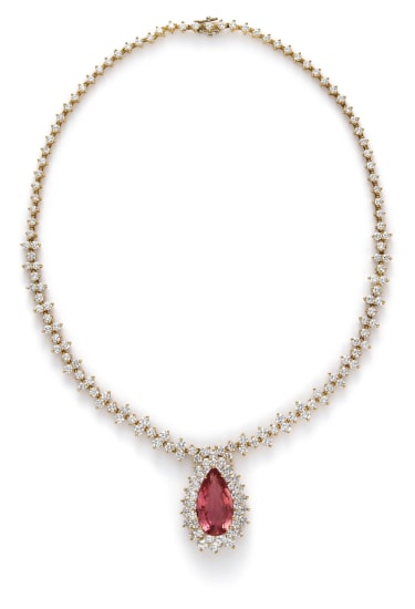 A Topaz and Diamond Necklace
