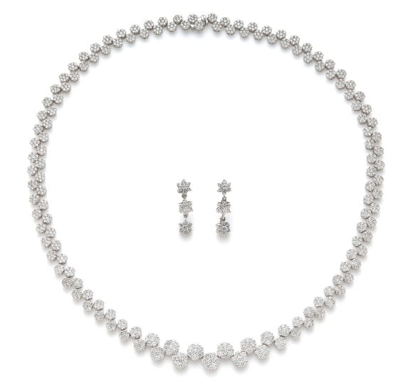 A Diamond Necklace and Pair of Earrings