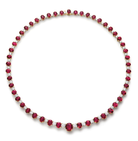 An Important Burmese Ruby and Diamond Necklace
