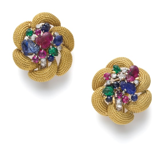 A Pair of Gold, Ruby, Sapphire, Emerald and Diamond Earrings