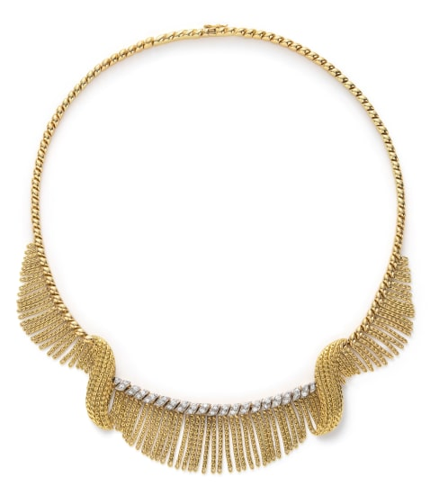 A Gold, Platinum and Diamond Necklace