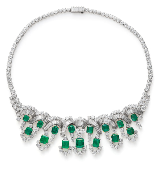 A Colombian Emerald and Diamond Necklace