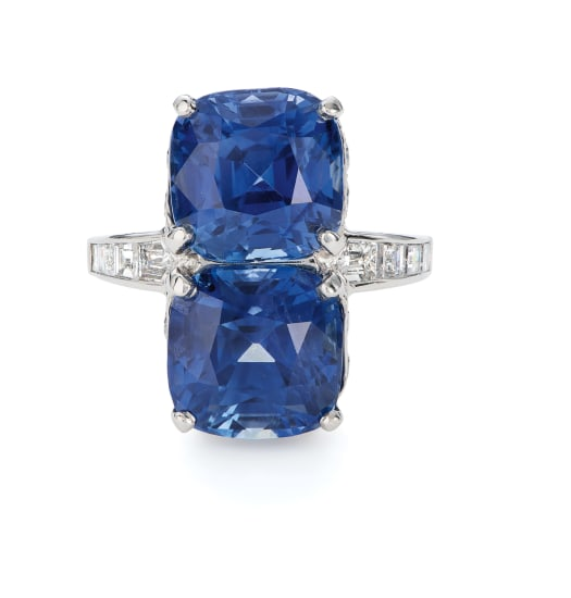 A Sapphire and Diamond Twin Ring