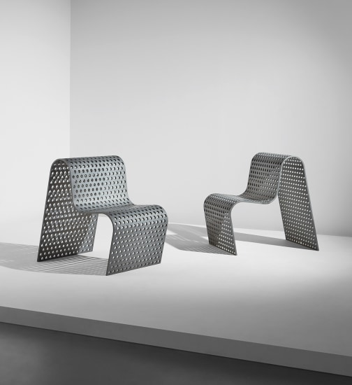 """Pair of """"Perforated Metal Chairs"""""""
