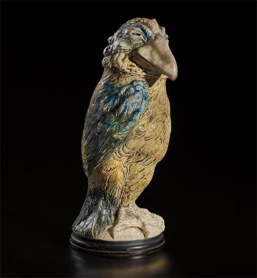 Sir Edward George Clarke QC caricatured as a tall distinguished fantastical bird jar and cover