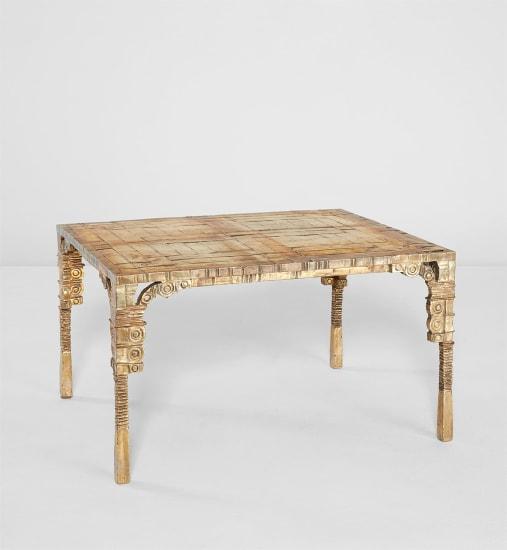 """Unique """"Table Basse Or Tout Bronze Pieds Doubles"""""""