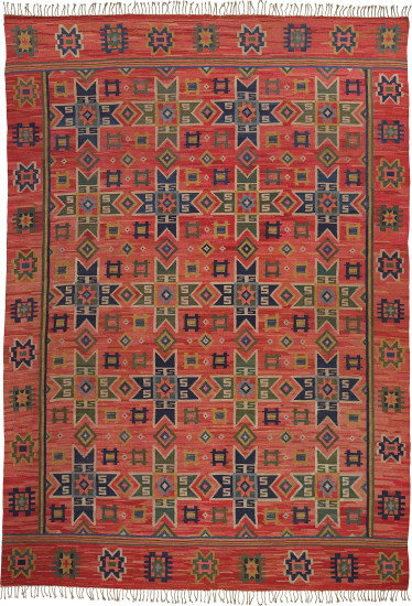 Early 'Stjärnor på rödt' (Stars on red) rug