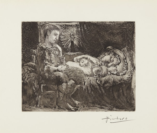Garçon et dormeuse à la chandelle (Boy and Sleeping Woman by Candlelight), plate 26 from La Suite Vollard