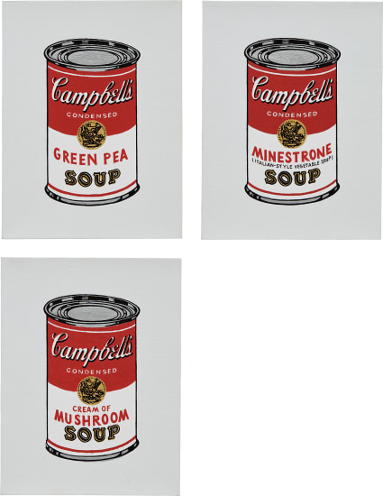 Green Pea; Minestrone; and Cream of Mushroom, from Andy Warhol, '32 Cans of Campbell's Soup,' 1962