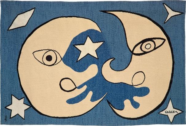 Lune et soleil, fond d'azur (Moon and Sun, on a blue background)