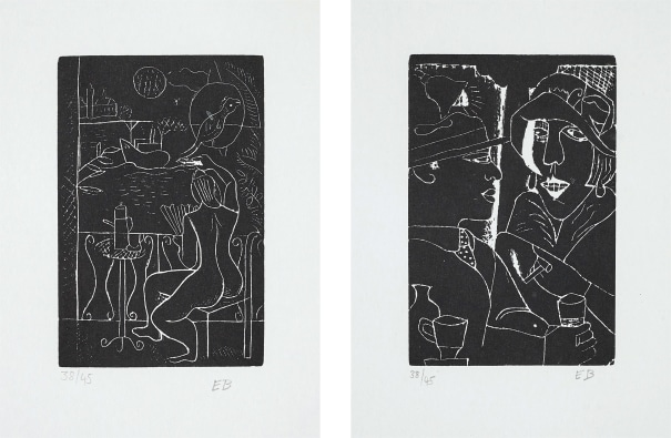 Fleet's Inn; and Two at the Bar, from Woodcuts 1928-29