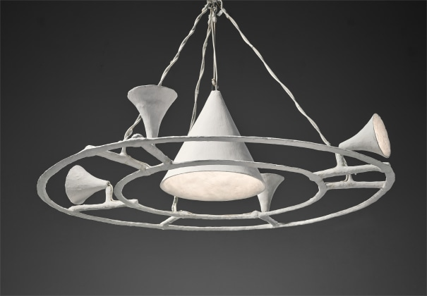 Unique and large conic chandelier with four small cones, from the Tériade apartment, Paris