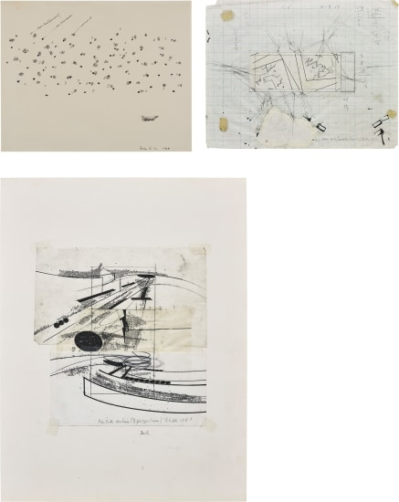 Three works: (i) Particles; (ii) Corner Sections (Separately Projected); (iii) Partition Sections (3 Perspectives)