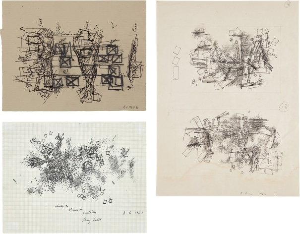 Three works: (i) Double Drawing; (ii) Untitled (feld & glas); (iii) Sheets to Strips to Particles