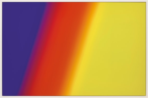 "Photoshop CS: 72 by 110 inches, 300 DPI, RGB, square pixels, default gradient ""Blue, Red, Yellow"", mousedown y=11050 x=3350, mouseup y=16300 x=19900"