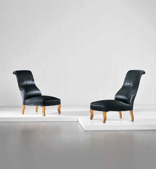 Unique pair of lounge chairs, designed for the living room of the Ada and Cesare Minola House, Turin