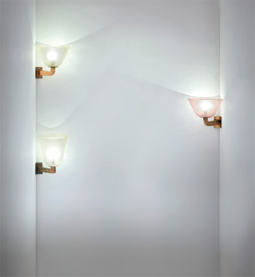 Three large corner wall lights