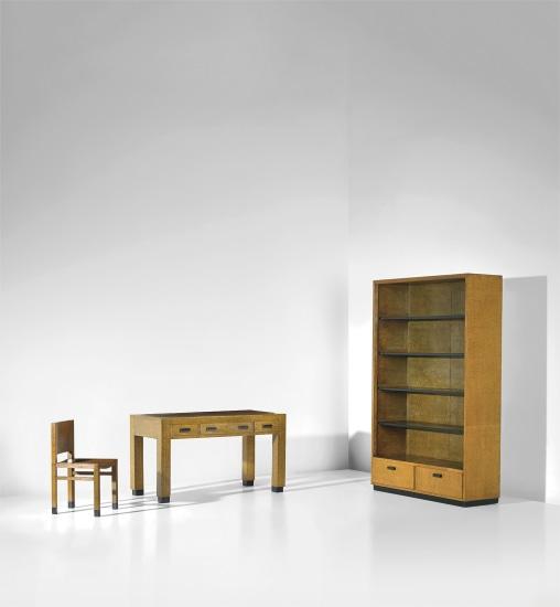 Desk, chair and bookcase, designed for the Palazzo Gualino, Turin