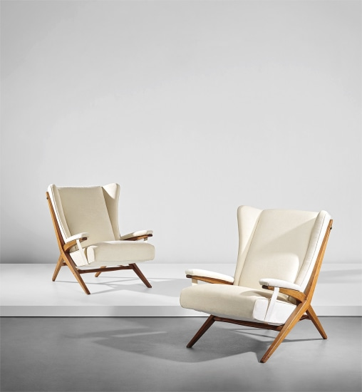 Pair of early 'Fiorenza' armchairs, designed for the dining room of Casa F., Milan