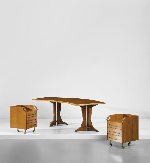 Unique desk and pair of drawer units, designed for the study of Casa F., Milan