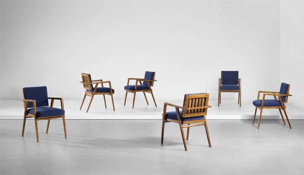 Set of six early 'Luisa' armchairs, designed for the dining room of Casa F., Milan