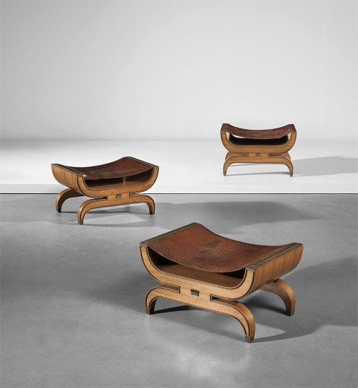 Set of three stools, designed for the Contini Bonacossi residence, Quadreria Moderna, Villa Vittoria, Florence