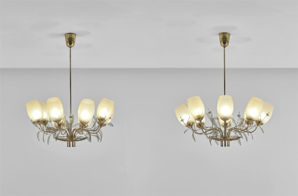 Pair of eight-armed ceiling lights, model no. 9029/8, from the 'Concerto' series