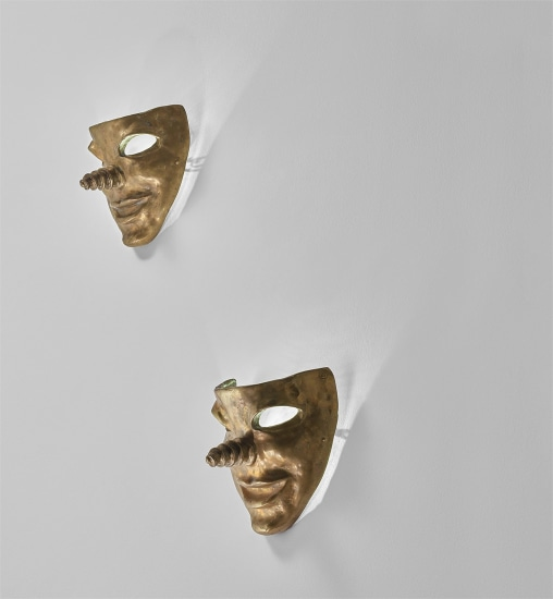 Pair of mask-form wall lights
