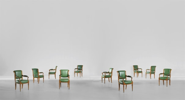 Important set of ten 'Board Room' chairs, designed for the Midland Bank Limited, New Head Offices, Poultry, London