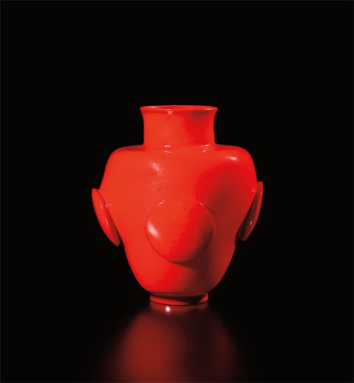 Unique 'Vaso rosso con quattro dischi'