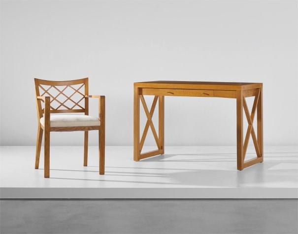 'Croisillon' desk and armchair