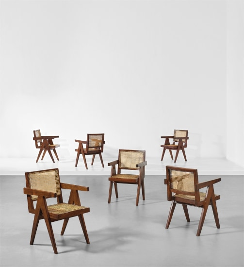 Set of six 'Office' armchairs, model no. PJ-SI-28-D, designed for the administrative buildings, Chandigarh
