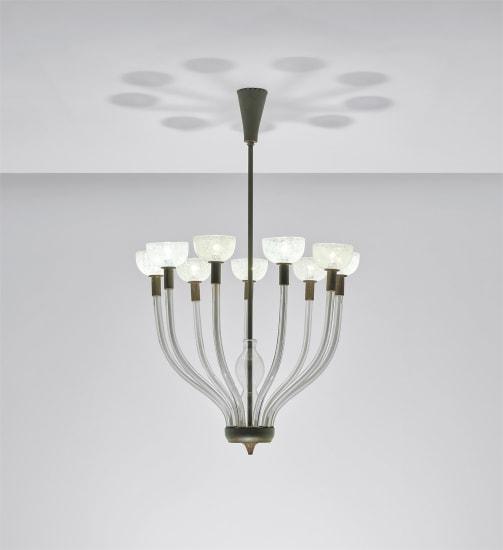 Rare nine-armed chandelier, model no. 5338