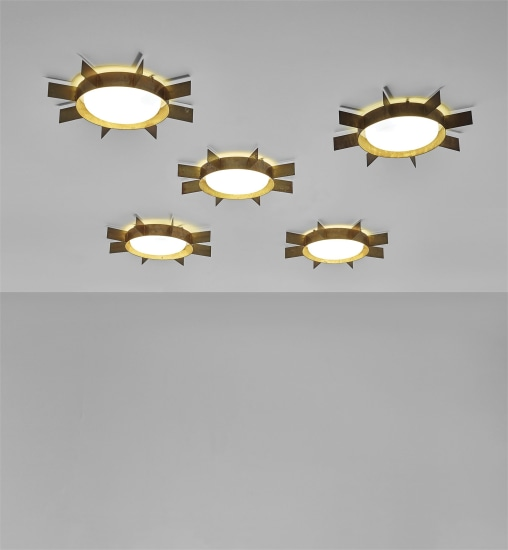 Set of five 'Sole' ceiling lights