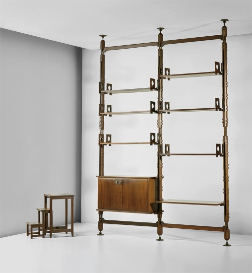 Rare modular bookcase and unique stepladder, designed for a private residence, Como