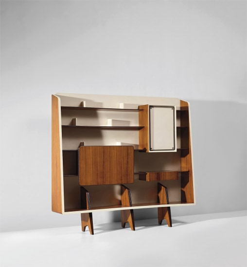 Rare bookcase with integrated drinks cabinet, designed for the 'Prima mostra dell'arredamento', Como