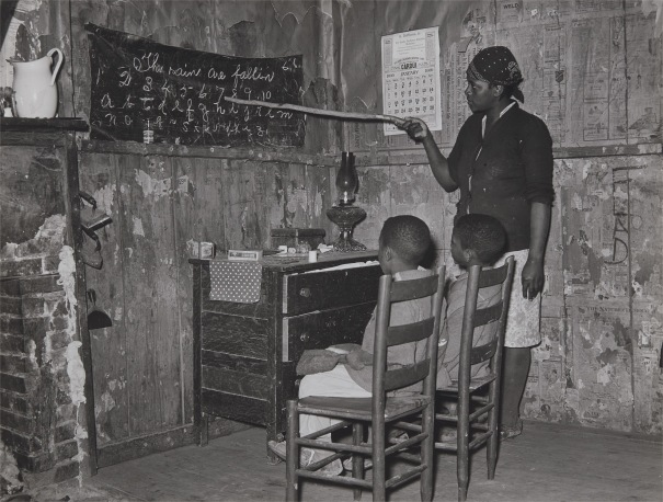 Mother Teaching Children Numbers and Alphabet in Home of Sharecropper, Transylvania Project, Louisiana