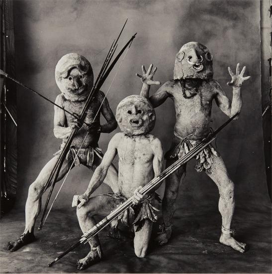 Three Asaro Mud Men, New Guinea