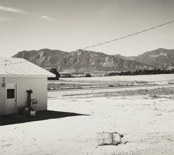 Tract home and abandoned shopping cart. Colorado Springs, Colorado