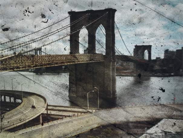 Tent-Camera Image on Ground: Rooftop View of the Brooklyn Bridge