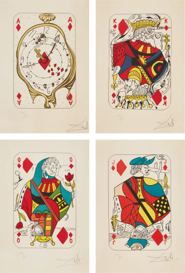 Playing Cards: Ace of Diamonds; King of Diamonds; Queen of Diamonds; and Jack of Diamonds, from Playing-Cards