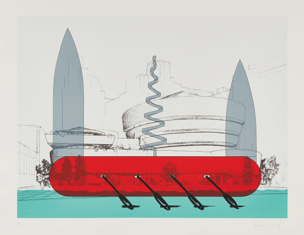 Knife Ship Superimposed on the Solomon R. Guggenheim Museum