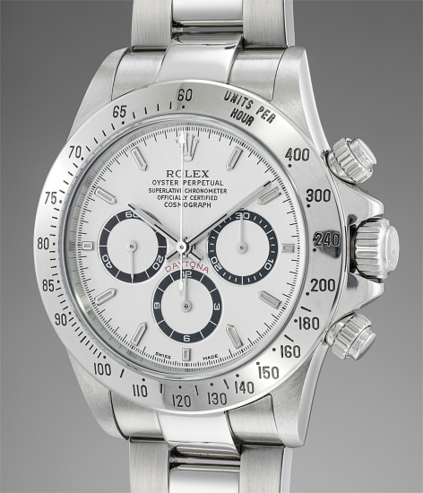 A rare and attractive stainless steel chronograph wristwatch with bracelet and guarantee